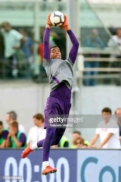 AlbanMarc Lafont of ACF Fiorentina in action during the serie A match between ACF Fiorentina and Udinese at Stadio Artemio Franchi on September 2...