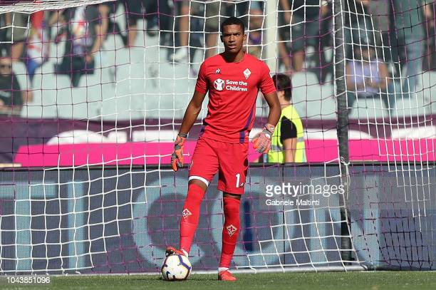 AlbanMarc Lafont of ACF Fiorentina looks on during the Serie A match between ACF Fiorentina and Atalanta BC at Stadio Artemio Franchi on September 30...