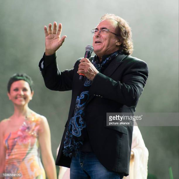 Albano Carrisi performs on stage during a concert with Romina Power  in Berlin Germany 21 August 2015 The concert of the singing duo Al Bano and...