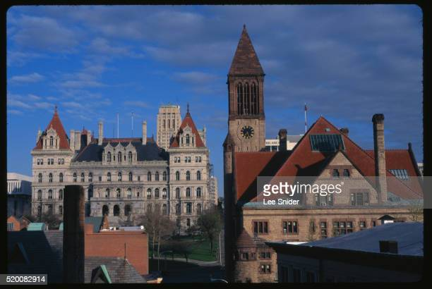 albany city hall and state capitol building - ニューヨーク州庁舎 ストックフォトと画像