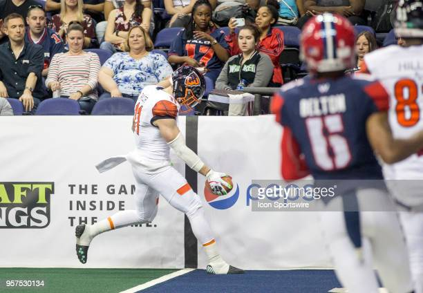 Albany Empire wide receiver Collin Taylor goes in for an easy touchdown during an Arena Football game between the Washington Valor and the Albany...