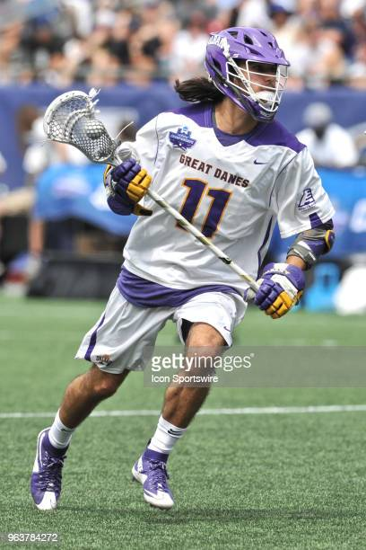 Albany Justin Reh brings the ball down field. During the Albany Great Danes game against the Yale Bulldogs at Gillette Stadium on May 26, 2018 in...
