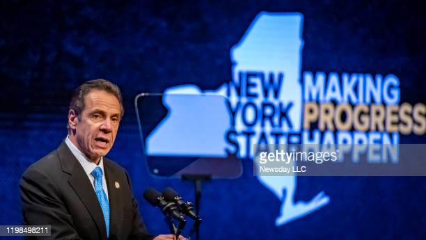 Gov. Andrew Cuomo during his State of the State address at the Empire State Plaza Convention Center in Albany, New York on January 8, 2020.