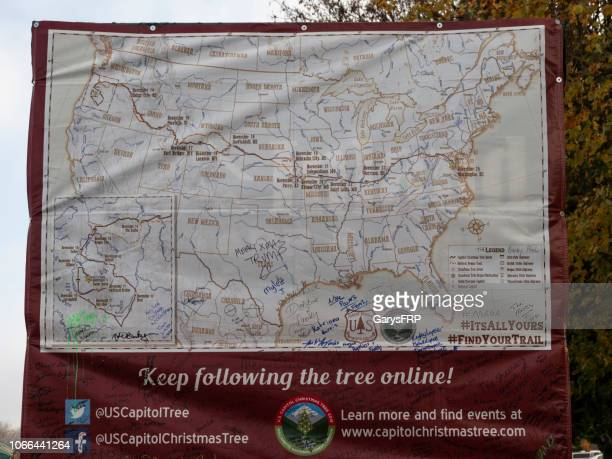 albany oregon capitol christmas tree trailer rear map oregon trail - the oregon trail stock photos and pictures