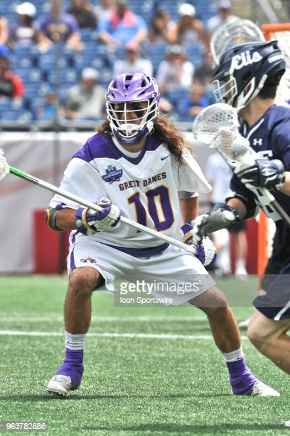 Albany Troy Reh plays some tough defense. During the Albany Great Danes game against the Yale Bulldogs at Gillette Stadium on May 26, 2018 in...