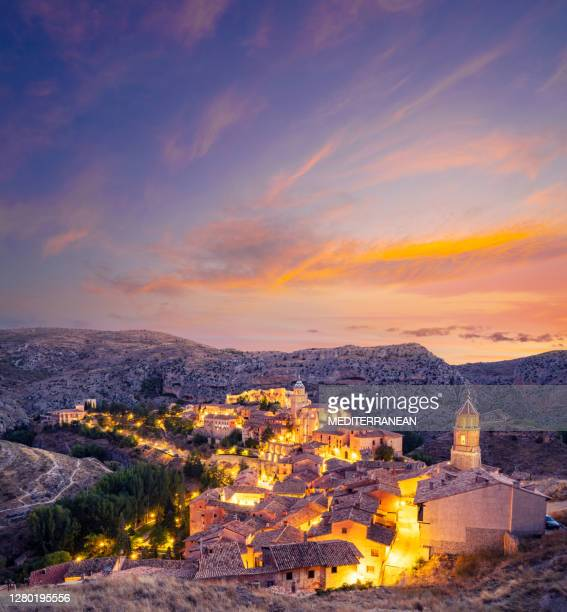 albarracin skyline at sunset in teruel of aragon in spain - aragon stock pictures, royalty-free photos & images