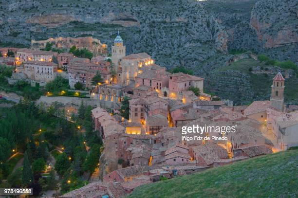 albarracín at night - teruel province - aragon - spain. - spanish culture stock pictures, royalty-free photos & images