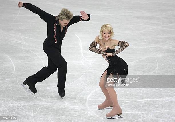 Albena Denkova and Maxim Stanoviski of Bulgaria in action during the ice dance original dance at the ISU World Figure Skating Championships on March...