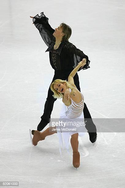 Albena Denkova and Maxim Staviski of Belerus in action during the Compulsory Dance during the ISU European Figure Skating Championships at the...