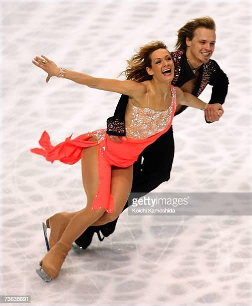 Albena Denkova and Maxim Staviski of Bulgaria compete during the compulsory ice danceing event of the World Figure Skating Championships at the Tokyo...