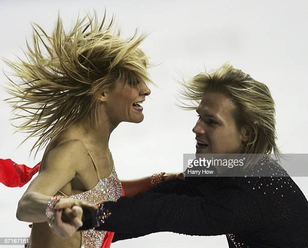 Albena Denkova and Maxim Staviski of Bulgaria compete in the Ice Dancing Original Dance during the ISU World Figure Skating Championships at the...
