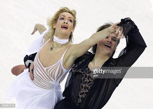 Albena Denkova and Maxim Staviski of Bulgaria perform during the Ice Dancing compulsory dance competition at the European Figure Skating...