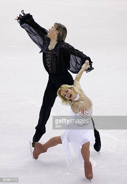 Albena Denkova and Maxim Staviski of Bulgaria perform in the Ice Dancing compulsory dance competition at the European Figure Skating Championships in...
