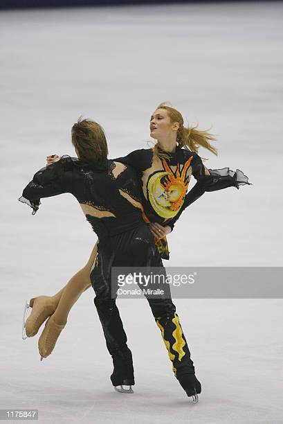 Albena Denkova and Maxim Staviyski of Bulgaria compete in the dance free skate during the Salt Lake City Winter Olympic Games on February 18 2002 at...