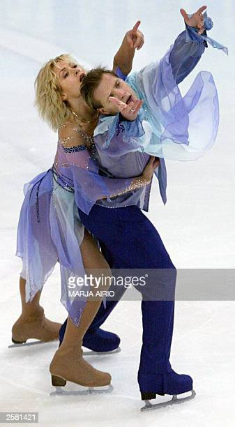 Albena Denkova and Maxim Staviyski of Bulgaria perform during the free dance event of the Finlandia Trophy ice dance competition in Helsinki Finland...