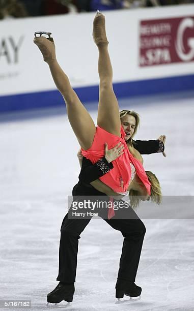 Albena Denkova is carried by Maxim Staviski of Bulgaria in the Ice Dancing Original Dance during the ISU World Figure Skating Championships at the...