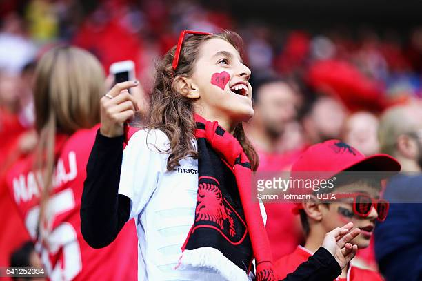 Albenia supporter enjoys the atmosphere prior to the UEFA EURO 2016 Group A match between Romania and Albania at Stade des Lumieres on June 19 2016...