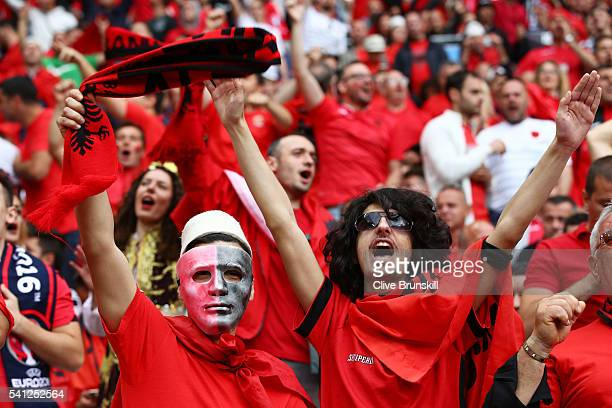 Albenia supporters show their support prior to the UEFA EURO 2016 Group A match between Romania and Albania at Stade des Lumieres on June 19 2016 in...