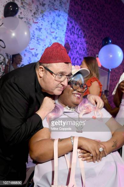Alber Elbaz and guest attend the Alber Elbaz X LeSportsac New York Fashion Week Party at Gallery I at Spring Studios on September 5 2018 in New York...