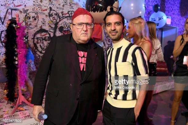 Alber Elbaz and Imran Amed attend the Alber Elbaz X LeSportsac New York Fashion Week Party at Gallery I at Spring Studios on September 5 2018 in New...