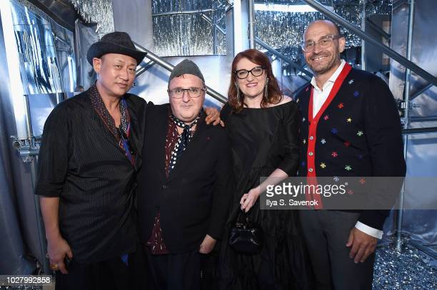 Alber Elbaz Glenda Bailey Marc Metrick attend the launch of the Saks IT List Townhouse hosted by Glenda Bailey and Katie Holmes in partnership with...