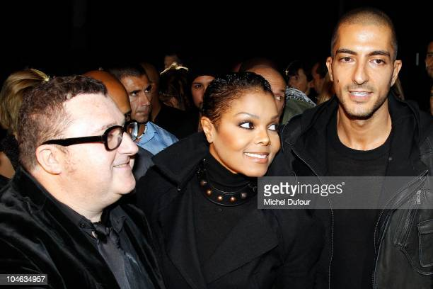 Alber Elbaz Janet Jackson and Wissam Al Mana attend the Lanvin Ready to Wear Spring/Summer 2011 show during Paris Fashion Week at Halle Freyssinet on...