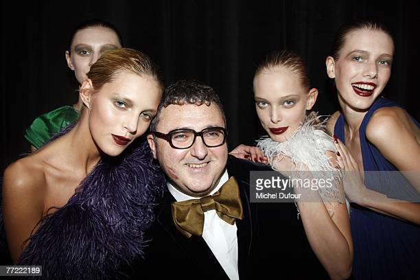 Alber Elbaz with models in backstage at the Lanvin fashion show, during the Spring/Summer 2008 ready-to-wear collection show at Espace Jardins du...