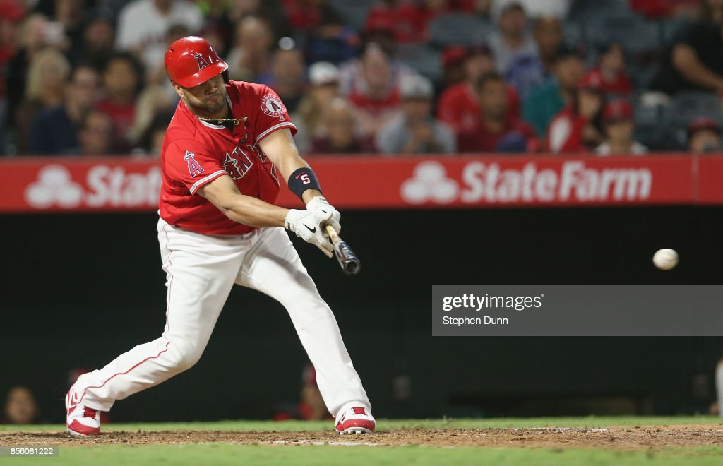 Alber Pujols #5 of the Los Angeles Angels of Anaheim grounds out to drive in a run in the fifth inning against the Seattle Mariners on September 30, 2017 at Angel Stadium of Anaheim in Anaheim, California. Pujols took over eighth place on the all time MLB career RBI list on the play.