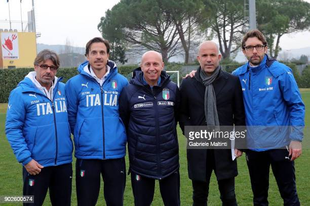 Albergo Evani Daniele Franceschini Maurizio Viscidi Luigi Di Biagio and Federico Guidi of FIGC during the at Coverciano 'Torneo Dei Gironi' Italian...