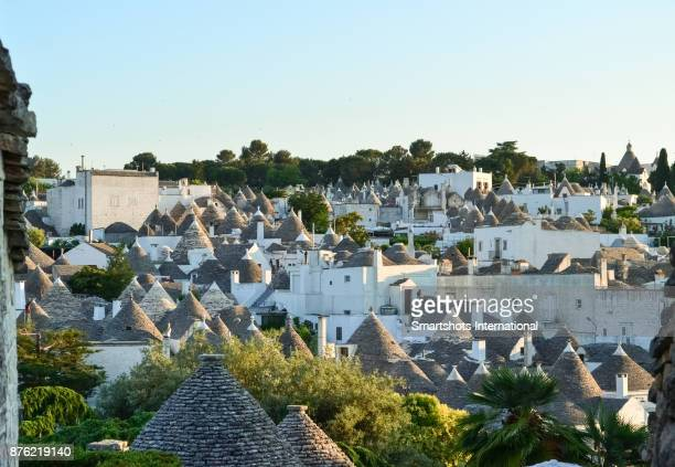Alberobello skyline full of trulli domes in Puglia, Italy, a UNESCO heritage site