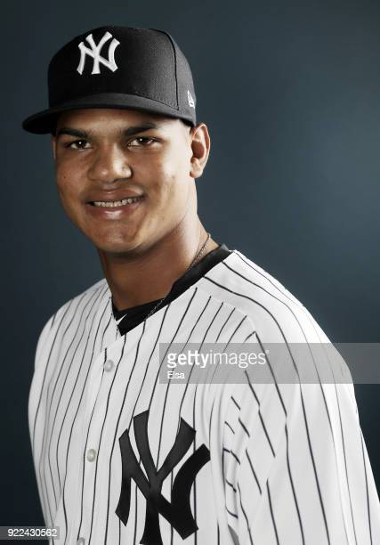 Albert Abreu of the New York Yankees poses for a portrait during the New York Yankees photo day on February 21 2018 at George M Steinbrenner Field in...