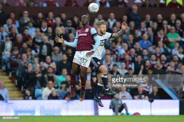 Albert Adomah of Aston Villa and Adam Clayton of Middlesbrough during the Sky Bet Championship Play Off Semi FinalSecond Leg match between Aston...
