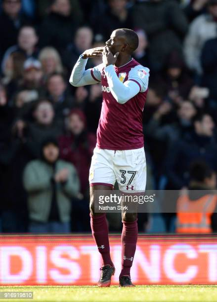 Albert Adomah of Aston Villa celebrates after scoring during the Sky Bet Championship match between Aston Villa and Birmingham City at Villa Park on...
