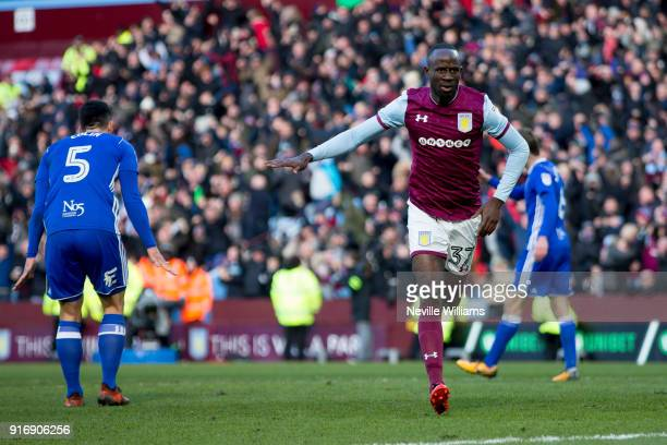 Albert Adomah of Aston Villa celebrates scoring for Aston Villa during the Sky Bet Championship match between Aston Villa and Birmingham City at...