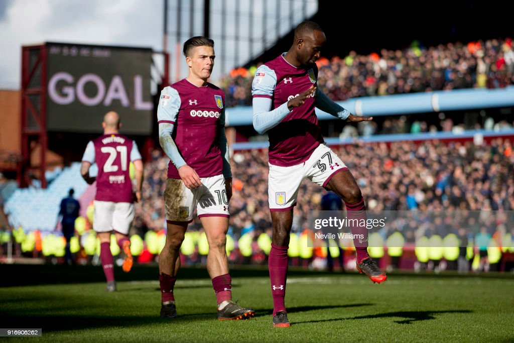Albert Adomah of Aston Villa celebrates scoring for Aston Villa during the Sky Bet Championship match between Aston Villa and Birmingham City at Villa Park on February 11, 2018 in Birmingham, England.