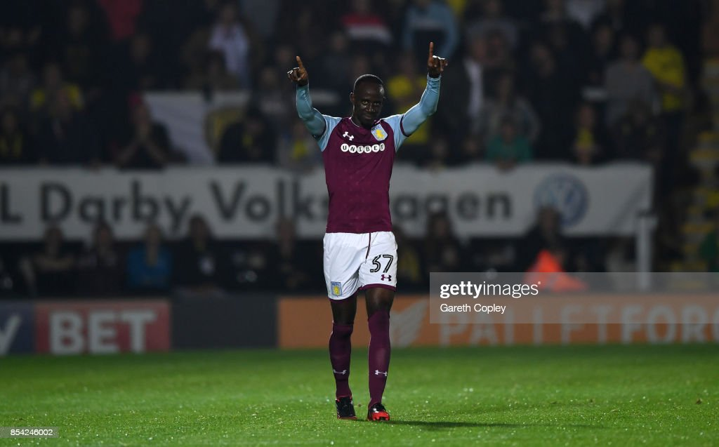 Albert Adomah of Aston Villa celebrates scoring his team's 2nd goal during the Sky Bet Championship match between Burton Albion and Aston Villa at Pirelli Stadium on September 26, 2017 in Burton-upon-Trent, England.