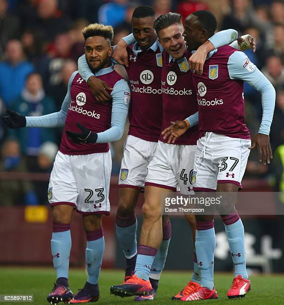 Albert Adomah of Aston Villa celebrates scoring the first goal of the match during the Sky Bet Championship match between Aston Villa and Cardiff...