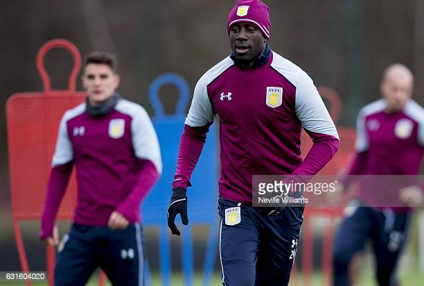 Albert Adomah of Aston Villa during a training session at the club's training ground at Bodymoor Heath on January 13 2017 in Birmingham England
