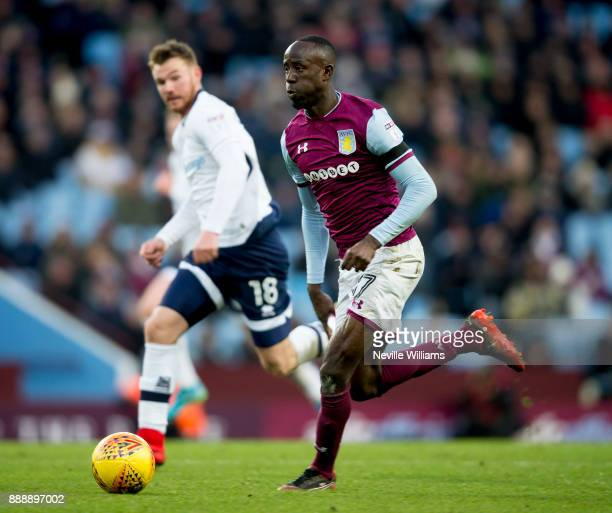 Albert Adomah of Aston Villa during the Sky Bet Championship match between Aston Villa and Millwall at Villa Park on December 09 2017 in Birmingham...