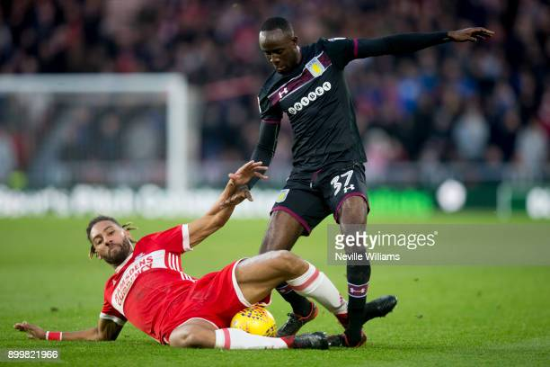 Albert Adomah of Aston Villa during the Sky Bet Championship match between Middlesbrough and Aston Villa at the Riverside Stadium on December 30 2017...