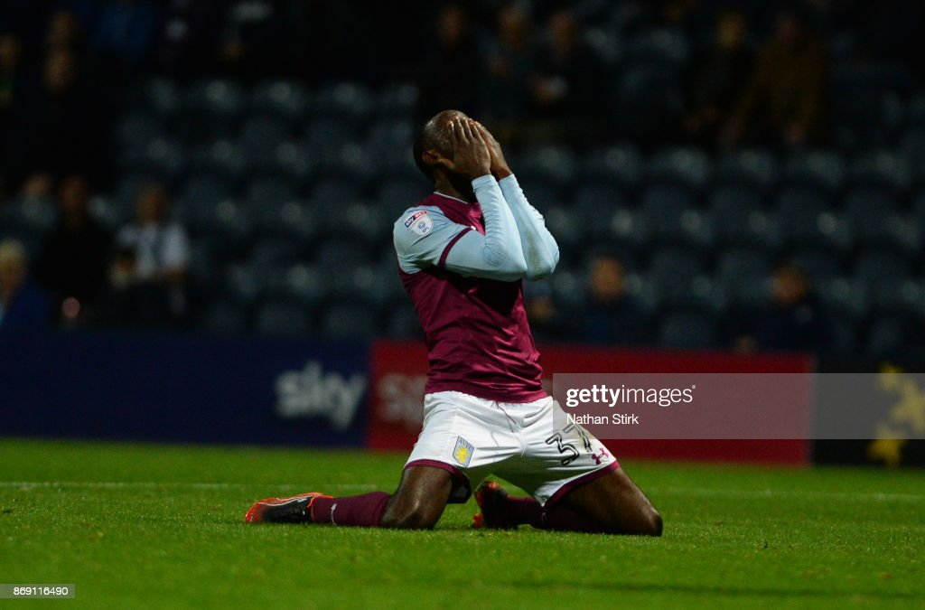 Albert Adomah of Aston Villa fails to finish the game of during the Sky Bet Championship match between Preston North End and Aston Villa at Deepdale on November 1, 2017 in Preston, England.