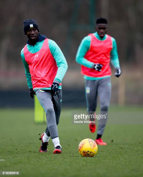 Albert Adomah of Aston Villa in action during a Aston Villa training session at the club's training ground at Bodymoor Heath on February 06 2018 in...