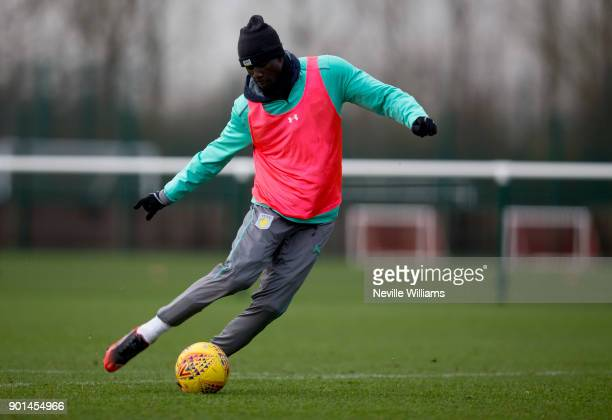 Albert Adomah of Aston Villa in action during a training session at the club's training ground at Bodymoor Heath on January 04 2018 in Birmingham...