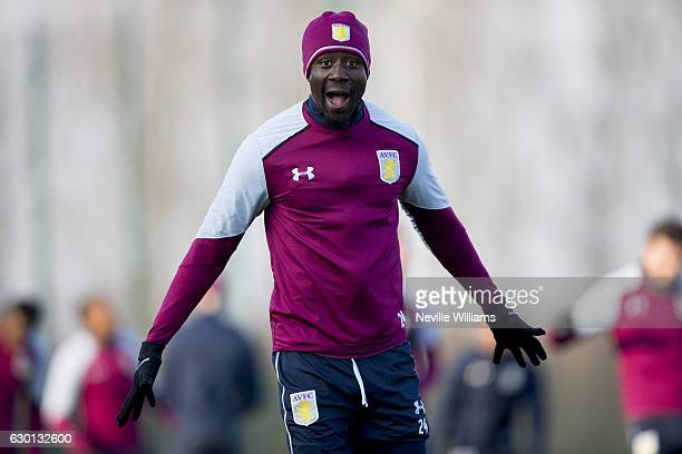 Albert Adomah of Aston Villa in action during an Aston Villa training session at the club's training ground at Bodymoor Heath on December 16 2016 in...
