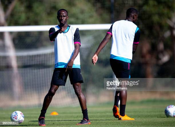 Albert Adomah of Aston Villa in action during an Aston Villa training session at the club's training camp on July 10 2018 in Faro Portugal
