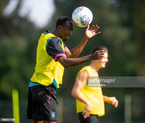 Albert Adomah of Aston Villa in action during an Aston Villa training session at the club's training camp on July 11 2018 in Faro Portugal