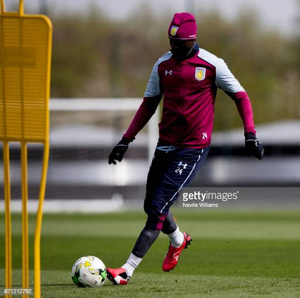 Albert Adomah of Aston Villa in action during at training session at the club's training ground at Bodymoor Heath on April 21 2017 in Birmingham...