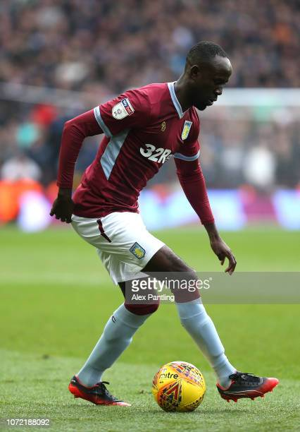 Albert Adomah of Aston Villa runs with the ball during the Sky Bet Championship match between Aston Villa and Birmingham City at Villa Park on...