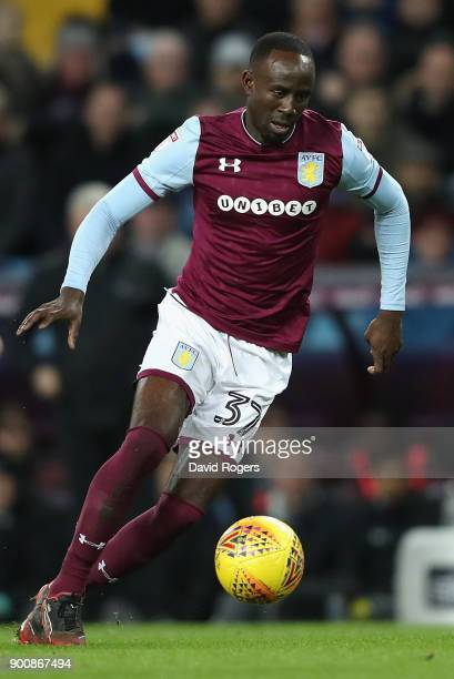 Albert Adomah of Aston Villa runs with the ball during the Sky Bet Championship match between Aston Villa and Bristol City at Villa Park on January 1...