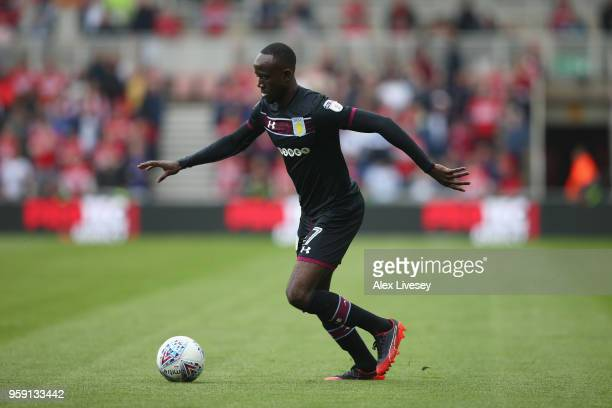 Albert Adomah of Aston Villa runs with the ball during the Sky Bet Championship Play Off Semi FinalFirst Leg match between Middlesbrough and Aston...
